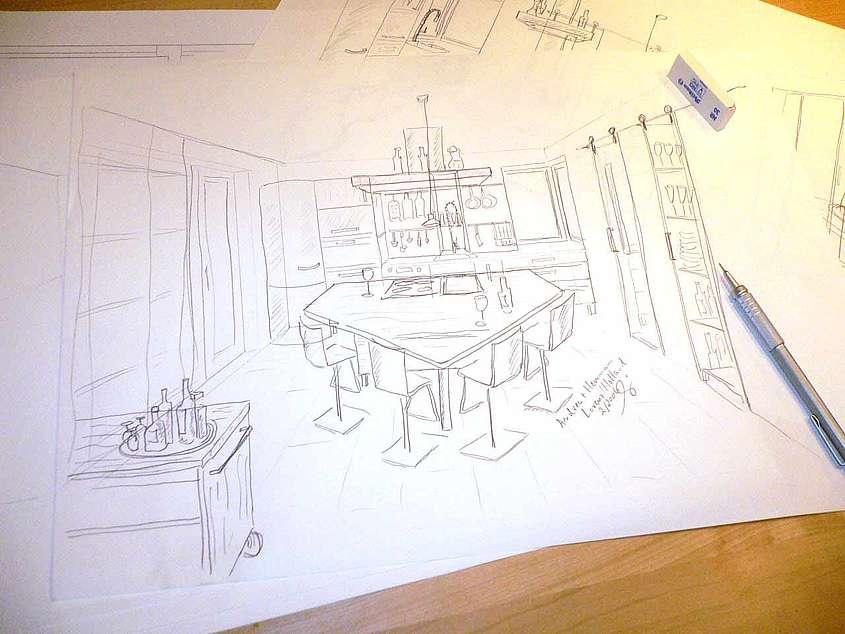 Während des ersten Gesprächs entsehen die ersten Gedanken zur Masivholzküche mit Bleistift auf Papier